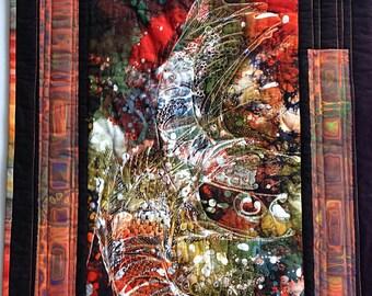 Batik Wall Art, Small Batik Quilt, Abstract Batik Fish, Fiber Art, Batik Earthtones Art Quilt, Abstract Art