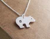 Reserved, Personalized Little Bear Cub Necklace, Monogram Bear Cub, Fine Silver, Sterling Silver Chain