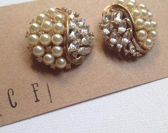 Crystal Rhinestone and Pearl Sterling Silver Post Earrings - Ella