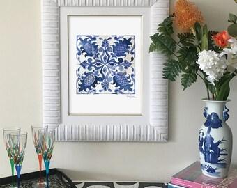 Blue Flower Tile Print, Blue Talavera Wall Art, Tile Design Picture