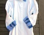 Blue Knot w Polka Dot 3/4 sleeve Shirt ; L34S08