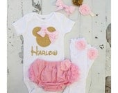 Newborn Baby Girl Coming Home Outfit, Minnie Mouse Personalized Set.  Minnie Head & Name Bodysuit, Diaper Cover Leggings Disney, Easter