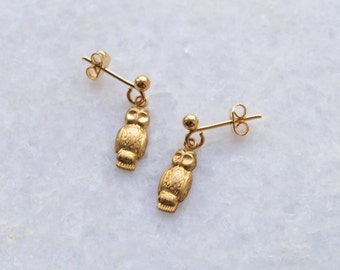 Gold Owl Stud Earrings . Dainty Small Ear Posts . Drop Brass Charms . Vintage Style UK