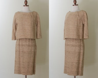 vintage 1960s tan nubby silk top and skirt set / 60s B.H. Wragge beige silk suit / XS -S