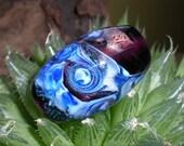 Purple Blue and Dichroic Swirled Handmade Lampwork Focal Bead
