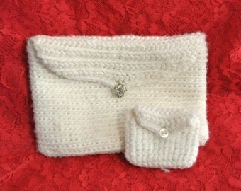 Vintage Bridal Wedding Crochet Clutch/Handbag Matching Coin/Ring Purse/Theater Costume /Prom/Glass Button Closure/Quinceanera 1st Communion