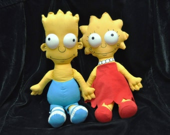 2 Vintage Simpson Dolls/90s Bart & Lisa/Set of Two Toys/Childhood Collectibles/Plush Full size/Matt Groening/Stuffed/Cartoon/20th Century