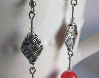 Salmon and silver dangle earrings