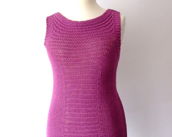 purple knit top, beach tunic, knitted vest, summer tee, cotton acrylic, loosely knit, size L/XL