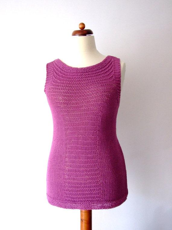 Knitting Summer Tunic : Purple knit top beach tunic knitted vest summer tee cotton