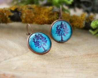 Deep Turquoise - Purple Tree Earrings, Antique Copper, Glass Cabochon, Tree Jewelry