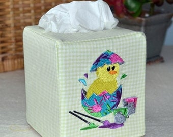 Painted Easter Egg Chick Tissue Box Cover