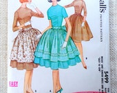 McCall's 5499 Vintage Pattern Bust 36 1950s 1960s full skirt dress Apron three quarter sleeve short fit and flare