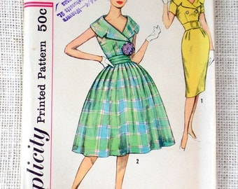 Vintage Pattern Simplicity 2971 double breasted shawl collar dress sewing wiggle 1960s Bust 33 sleeveless Belted cummerbund portrait collar