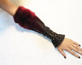 Fingerless Leather & Faux Fur Gauntlets