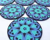 Retro 1970s Flower Power Coasters - Vintage Set of 6 - Metal with Cork Base - Purple Blue Mandala