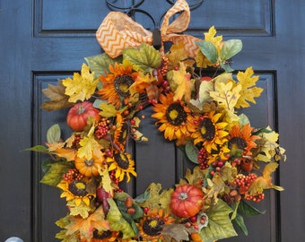 Chevron Bow Harvest Sunflower pumpkin wreath