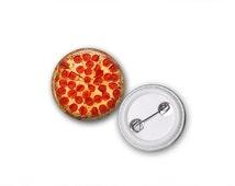 "Pepperoni Pizza Junk Food 1"" Pinback Button"