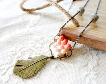 Boho chic peach ombre layered bead and feather necklace with grey accents, boho chic necklace, Free As A Bird