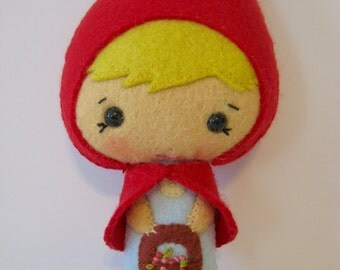 Little Red Riding Hood Sweetest Small Felt Doll Gingermelon Made to Order