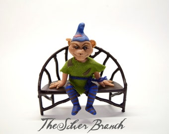 "Goblin, OOAK Goblin Art Doll, Hand sculpted Miniature Goblin, ""Trubble"""
