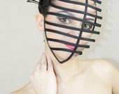 Black color Crinoline kendo style mask with ribbon end head cage grid for party cosplay costume