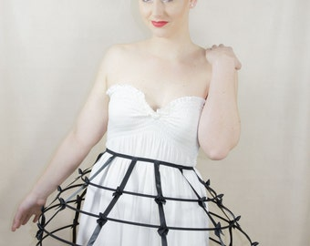 Black color Crinoline hoop cage skirt pannier 4 rows elastic waist band and satin ribbon fantasy cage Dress Ball Gown Bone