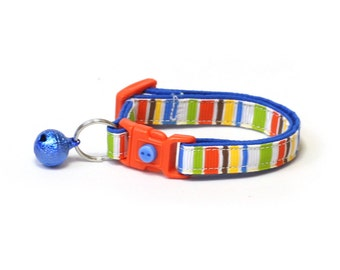 Striped Cat Collar - Play Time Stripes - Small Cat / Kitten Size or Large Size