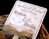 SALE 100 Rustic Mint Plants Wedding Fan Program, **6 inch update included**  **Rounded corners upgrade included**