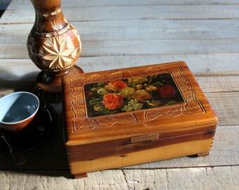 Vintage Cedar Wooden Box