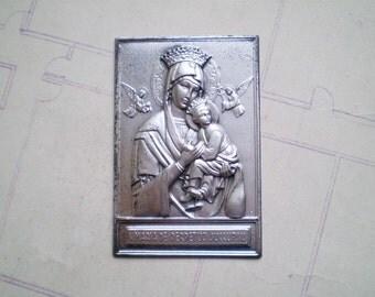 S. Maria De Perpetuo Succursu - Vintage Metal Pocket Shrine - Our Lady of Perpetual Help - Catholic - Holy Charm