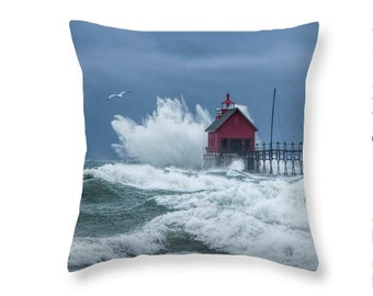 Throw Pillow with Flying Gull by the Grand Haven Lighthouse No.195 Michigan Seascape decorative novelty pillow Home Décor cushion cover