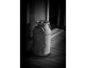Historical  Creamery Milk Can in 1880 Town Western Museum in South Dakota No.BW32912 A Black and White Fine Art Still Life Photograph
