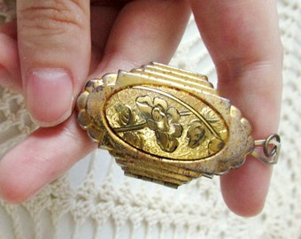 Large Antique Art Deco Double-Sided Locket with Engraved Flower Design