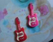 Kawaii girly guitar cabochon decoden deco diy charm  2 pcs--US seller