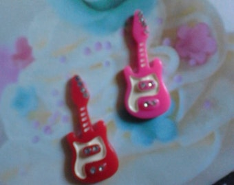 Kawaii girly guitar cabochon decoden deco diy charm  2 pcs--US seller