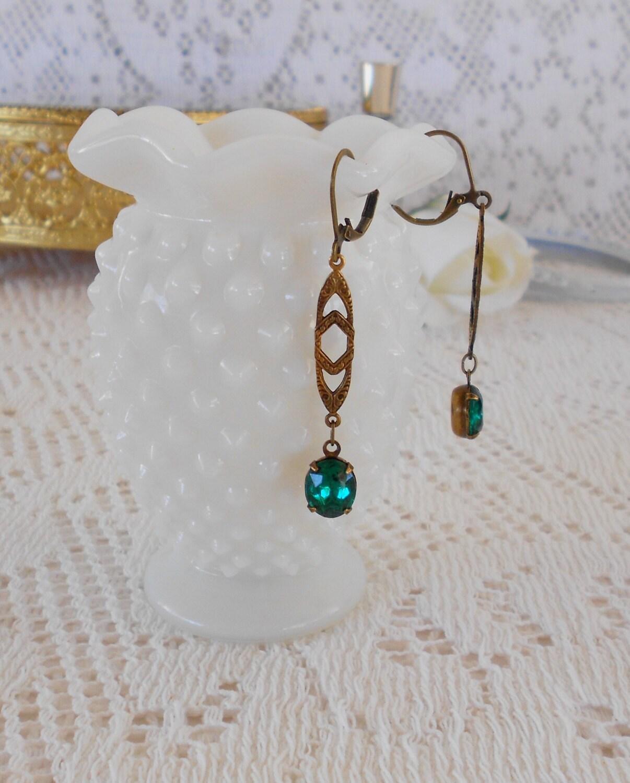 emerald earrings deco earrings nouveau by