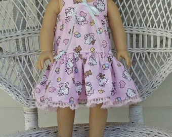Doll Nightgown with Hello Kitty Print  Handmade to Fit American Girl Dolls and Other 18 Inch Dolls