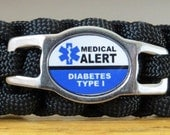 Diabetes Type 1 Bracelet, Medical Alert Bracelet, Survival Bracelet
