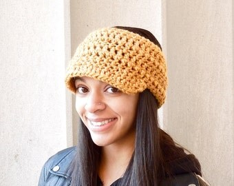 Crochet Headband, Brim Headband, Visor Headband, Ear Warmer, Mustard, Women,Teen