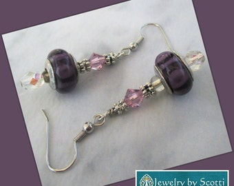 Purple Silver Lavender Crystal Dangle Earrings, Hypoallergenic Nickelfree, Her Purple Earrings, Her Crystal Earrings, Statement Earrings