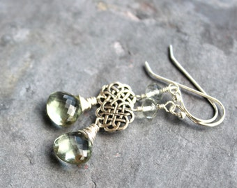 Prasiolite Earrings Green Amethyst Celtic Knot Sterling Silver Dangle Earrings
