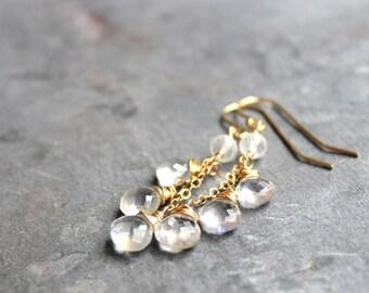 Moonstone Jewelry Earrings 14k Gold Filled Rainbow Moonstone dangle briolette Trio Cascade