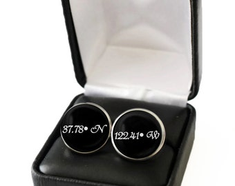 Custom Coordinates Men, Coordinates Cufflinks, Boyfriend Gift, Coordinate Gift for Men, Latitude Longitude Men, Long Distance Boyfriend Gift