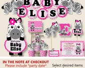 Pink Baby Girl Zebra Baby Shower Decorations, Zebra Birthday Party Supplies - Package, Invitation, Cake Topper, Favors, Cupcakes, Invite