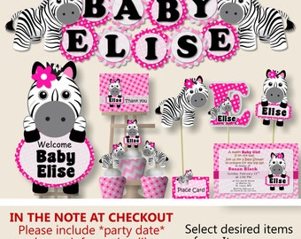 Zebra baby shower decorations etsy for Animal print baby shower decoration ideas