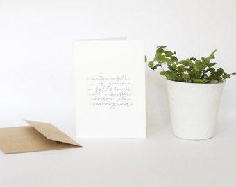 4 Bar Card with Envelope, Handwriting, Nature is Full of Genius