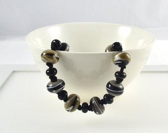 SALE Items, Long Black Necklace, Lampwork Necklace, Lampwork Jewellery, Grey Glass Jewellery, Adjustable Necklace, Unique Beaded Necklace