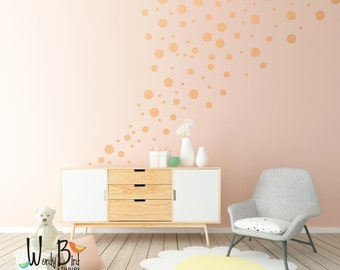 White Polka Dot Wall Decals - Peel and Stick Polka Dots Decals - Confetti Dots Wall Decals - WBDOTS