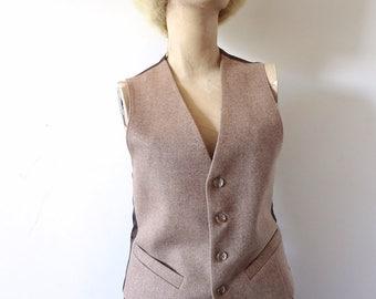 1970s Wool Tweed Vest - vintage herringbone waistcoat